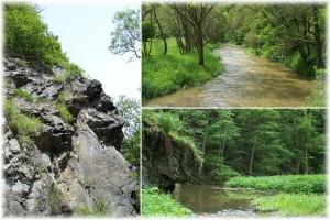 Skály pod Dolním Hradištěm, řeka Střela a Kralovický potok